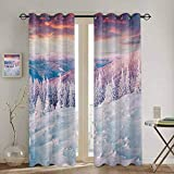 DONEECKL Winter Black out Window Curtain European Snowy Mountains Pine Forest with Sky Colors Overcast Windy Fresh Image Waterproof Fabric W52 x L84 Inch White Pink
