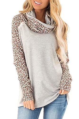 YACUN Damen Leopard Sweatshirt Kuh Hals Gelegentlich Lange Ärmel Raglan Shirt Top Grau L