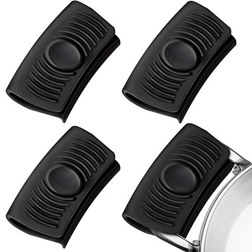 2 Pairs Silicone Assist Handle Holder Heat Insulated Hot Pot Grip Handle Cover Sleeve Grip for Cast Iron Woks, Pans, Griddles, Skillets, Plates (Black)