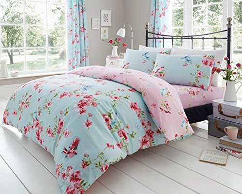 Gaveno Cavailia Luxury BIRDIE BLOSSOM Bed Set with Duvet Cover and Pillow Case, Polyester-Cotton, Blue, Single