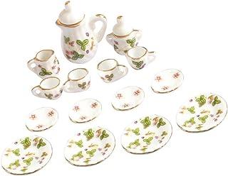 Baosity 15 Pieces Dollhouse Porcelain Tea Set (Green Flower, Gold Trimmed) - 1/12 Scale Dollhouse Kitchen Accessories - Pr...