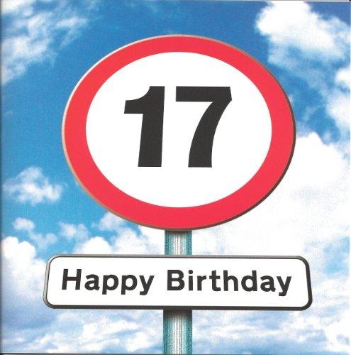 Twizler Geburtstagskarte zum 17. Geburtstag, für Teenager–Motiv: Straßenschild–17Jahre alt–Alter: 17