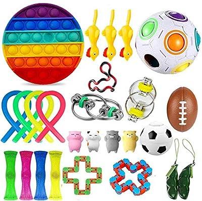 EMZOH Fidget Toy Set, 26 Pcs Sensorial Fidget Juguete Fidget Set De Juguetes Sensoriales Push Pop Bubble Sensory Fidget Toys, Alivio Del Estrés y Juguetes Sensoriales Antiansiedad Para Niños y Adultos de EMZOH