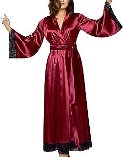 XJJZS Nuit douce Nouvelle soie Kimono Robe Peignoir Femmes Soie Demaine de demoiselle d'honneur Sexy Robe rouge Robes Sati...