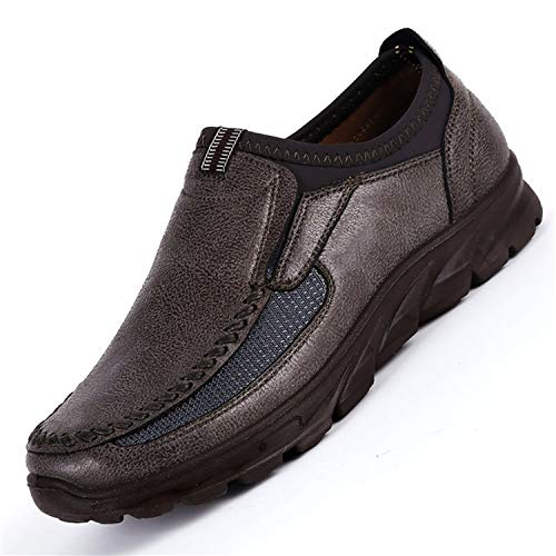 Day-break Famous Sneakers Outdoor Shoes Slip On Flat Shoes Footwear Men Shoes Leather Men Moccasins Shoes Size 38-48,Gray,8.5