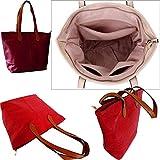 Bolso de mano pequeño con cremallera, de piel sintética para la playa para mujer, colores lisos, color Rojo, talla Medium