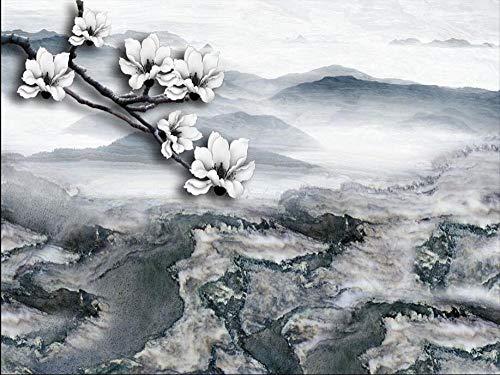Fotobehang 3D - Witte bloeiende vintage-gebergte vliesbehang voor moderne wandschilderij wand slaapkamer woonkamer TV hal kinderkamer decoratie 350x256 cm - 7 Streifen