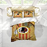 Washi-ngton Red-Skins Microfiber Duvet Cover Set American Football Duvet Cover Kids Queen Size Easy Care Bedding Cover Washed Microfiber