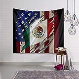 Wandteppich mit stolzer mexikanischer Flagge am Strand 50x60 Inch schwarz