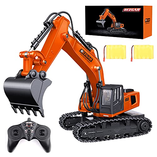 BEZGAR Remote Control Construction Excavator Toy, 9 Channel RC Excavator Toys, RC Construction Truck Vehicle Toys with 2 Rechargeable Batteries, TK181