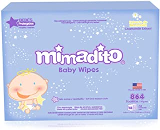 Mimadito Chamomile – Lightly Scented Baby Wipes (864 Wipes: 12 Packages of 72 Wet Wipes)