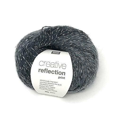 50 g Rico Creative Reflection mit Silberfaden oder Goldfaden, Wolle, Strickgarn, Lace (006 anthrazit mit Silberfaden)