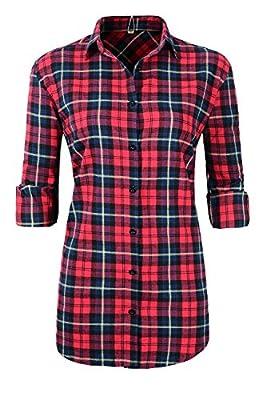 Beninos Womens Long Sleeve Flannel Plaid Shirts