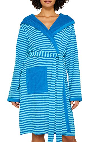 ESPRIT Damen-Bademantel Striped Hoody mit Kapuze Leichtfrottier türkis Größe 36/38,S