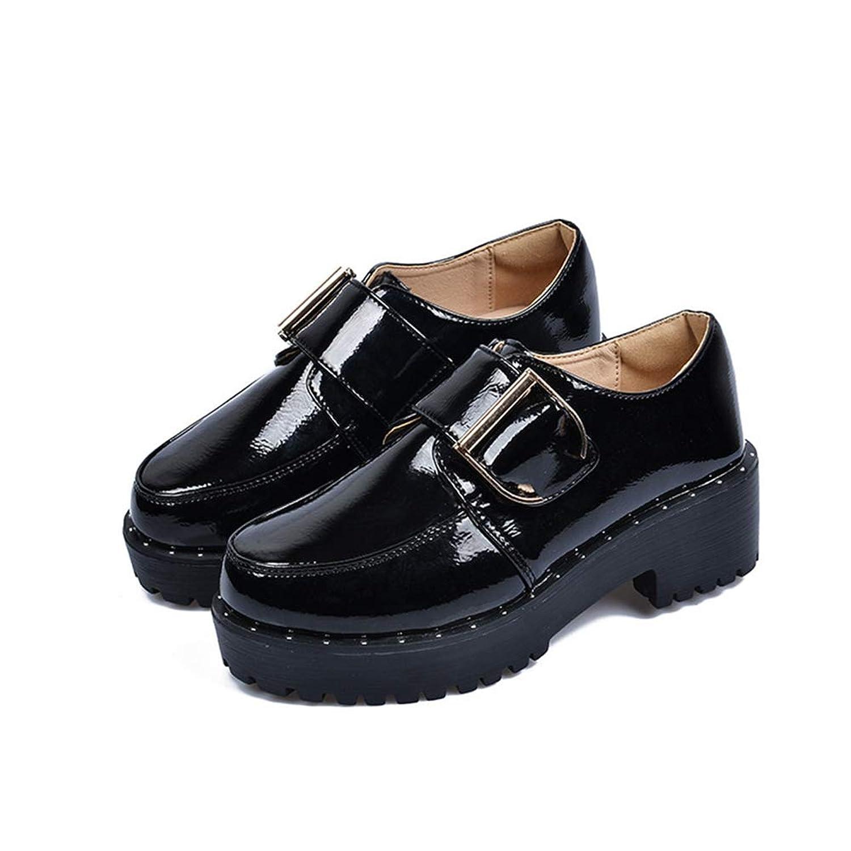 [XYJP] オックスフォード シューズ レディース 厚底 靴 バックル ベルト ラバーソール ローヒール 軽量 シンプル おしゃれ 大きいサイズ 歩きやすい カジュアル 通学 純色 高反発クッション 小さいサイズ20.5-27.0cm