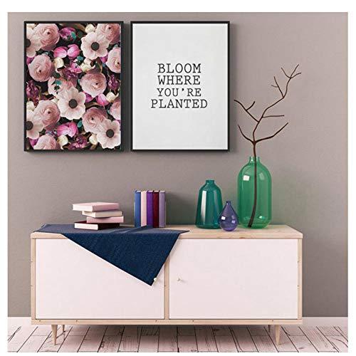 kaxiou Vintage Flora Wandkunst erröten rosa Plakate und Chabby Chic Drucke romantische Zitate Leinwand Malerei Bilder für Wohnzimmer Dekor-40X60Cmx2 Pcs Kein Rahmen