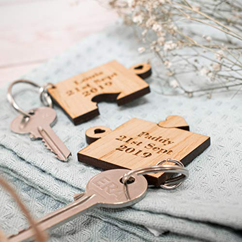 2 x Personalised Jigsaw Puzzle Piece Wooden Keyrings Each Engraved with Names & Date | Gifts for him or her