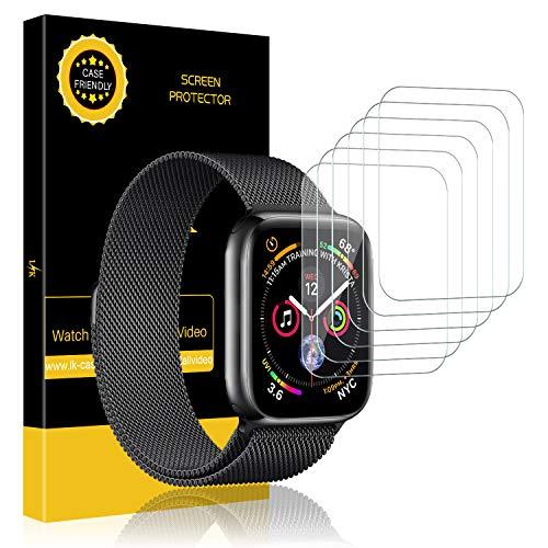 LK [6 Pack Pellicola Protettiva per Apple Watch 44mm Series 5 / Series 4 / 42mm [1/2 / 3], Protezione Schermo [Bubble-Free-Riutilizzabile] HD Clear Film in TPU Silicone Pellicola