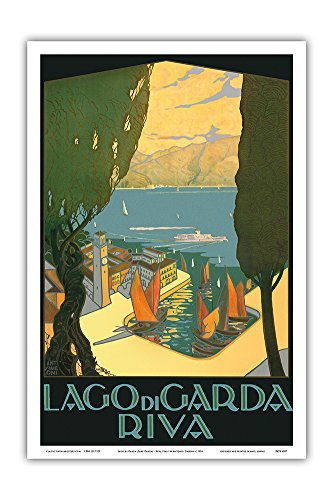 Pacifica Island Art Lago di Garda (Lake Garda) - Riva, Italy - Vintage World Travel Poster by Antonio Simeoni c.1926 - Master Art Print - 12in x 18in