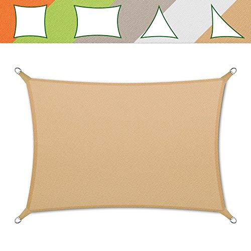 casa pura® Sonnensegel wasserabweisend imprägniert | Testnote 1.4 | Rechteck | UV Schutz Größen (Sandfarben, 3x5m)