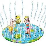 SmallPocket Spritzschutz Sprinkler Spielmatte für Kinder Sommer Garten Wasserspielzeug Kinder Baby Pool Pad Frosch Spielmatte für Baby, Kinder, Hund