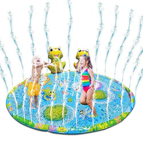 xlcukx Splash Pad - Juego de Salpicaduras y Salpicaduras - Aspersor de Juegos de Agua - Rana 3D Inflable Almohadilla de Aspersión - Juego de Verano para Actividades Familiares Aire Libre Fiesta Ideal