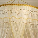 GRD Moskitonetz Prinzessin Traum Schmetterling Kuppel mücken Netz Doppelbett Reise with A Full Hanging Kit Durch (gelb) - 5