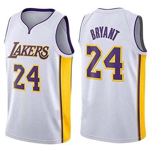 DXG NBA Los Angeles Lakers 24# Jerseys Camiseta Uniforme Uniforme Transpirable Secado rápido Sin Mangas Sport Mesh Vest Top,Blanco,L