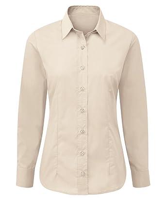 Alexandra STC-NF90CR-06 - Camisa de manga larga para mujer, fácil cuidado, 5% poliéster, 35% algodón, talla 6, color crema