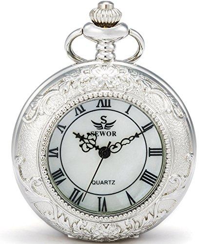 SEWOR Lupa Mecanismo japonés de Cuarzo Reloj de Bolsillo con Cadena de Moda Doble (Metal y Piel) (Plata)