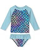 uideazone Mermaid Toddler Swimsuit Rash Guard Girl Long Sleeve 2 Piece Bathingsuit Set Swimwear UPF 50+ Sun Protection Bikini for Summer Holiday Pool (Blue-Mermaid Scales, 3-4 Years)
