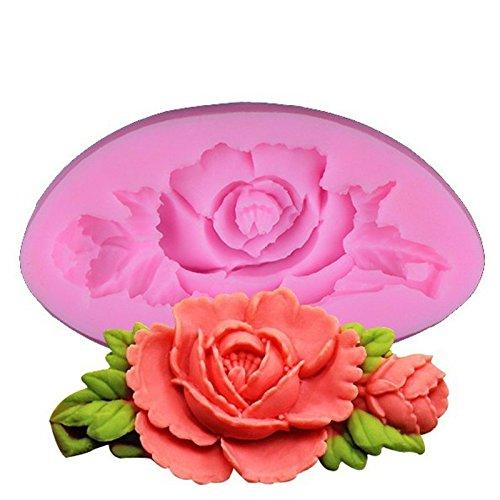 Demarkt 1Pcs Moule en Silicone en Forme de Fleur et Rose Anniversaire Tarte Moule à gâteau Moule en Silicone (7.5 * 4 * 1.3cm)