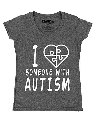shop4ever I Love Someone with Autism White Women's V-Neck T-Shirt Autism Support Shirts Large Heather Charcoal0