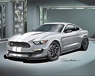2015 - 2016 FORD MUSTANG SHELBY GT350 - AVALANCHE GRAY- ART PRINT POSTER BY ARTIST DANNY WHITFIELD - SIZE 24 X 36