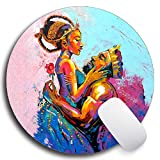 SHrui Gaming Office Mouse pad,Anti-Slip Natural Rubber Mouse pad, Round Personalized Custom Mouse pad for Desktop, Computer, Laptop -African King Queen