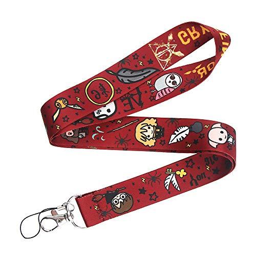Harry Potter Hogwarts - Cordón para el cuello, para llaves, tarjetas de identificación, llavero(rojo)