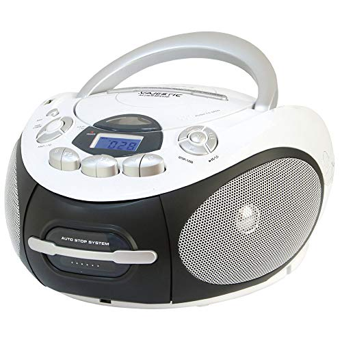 Majestic AH 2387R MP3 USB - Boom Box portátil con Reproductor de CD/MP3, Entrada USB, Grabador de cajón, Toma de Auriculares, Color Blanco