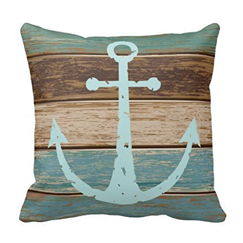 CBOutletArt Nautical Anchor Weathered Wood Coastal Themed Polyester #078 Cotton Linen Decorative Throw Pillow Case Cushion Cover 18*18 Inch