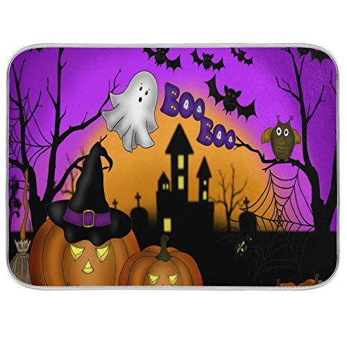 Tapis de séchage à vaisselle en microfibre comptoirs de cuisine protecteur de coussin sec 16 x 18 pouces Halloween nuit citrouille lanterne sable