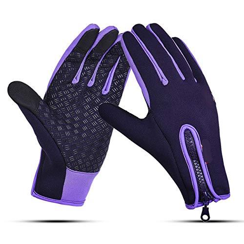 Unisexe Écran Tactile Gants Imperméables pour Vélo Vélo Doigt Complet Gants Coupe-Vent Vélo VTT Sport Gants Hommes Femmes S-XL - Violet, XL