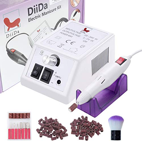DiiDa Professionelles Elektrisch Nagelfeilen/Maniküre/Pediküre Kit 20000 u/Min Weiß Einstellbarer Geschwindigkeit für Acrylnägel Gelnägel Kallus Entfernen