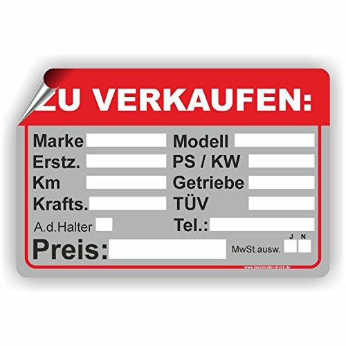 Fassbender-Druck SCHILDER Auto Verkaufsschild - Schild/D-033 (30x20cm Aufkleber)