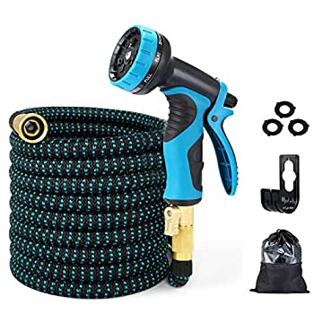 EASYHOSE Garden Hose 50FT Expandable Water Hose with Extra-Strong Brass Connector,9 Function Spray Nozzle Flexible Hose with Enhanced Fabric,Superior Strength 3750D 50FT