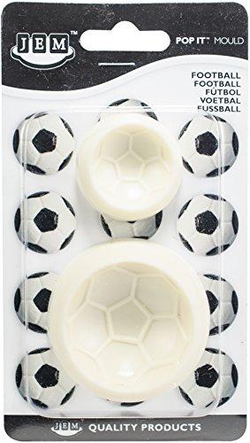 Molde en forma de Balón de Fútbol para decoración de tartas y azucareras Ideal para cortar diseños delicados Estampado en relieve Incluye dos tamaños de molde diferentes Fabricado en plástico ABS apto para uso alimentario