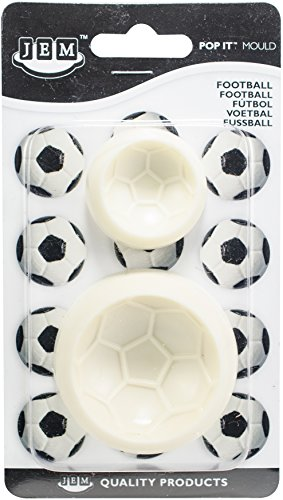 jem 1102EP009 Stampi a Forma di Pallone da Calcio per Cake Design, Bianco, 6x2x6 cm, 2 unità