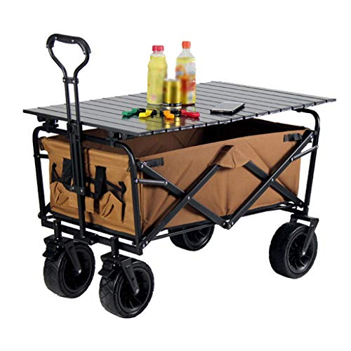 GLJ Outdoor Folding Utility Wagon Portable Outdoor Foldable Cart, Heavy Duty Beach Wagon with Table, 4 Wheeled Trolley with Brakes, Load-Bearing 100kg / 220lbs (Color : Style 2)