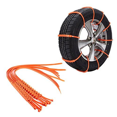 KIMISS 10 * Cadenas de nieve de antideslizantes de Neumáticos universales del Automóviles con Tendones engrosados [Reutilizable & Seguridad]