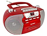 Karcher RR 5040 Oberon tragbares CD-Radio (AM/FM-Radio, CD, Kassette, AUX-In, Netz/Batteriebetrieb) rot
