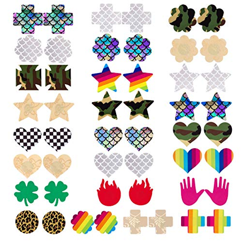Farram 25 Pairs Nipple Covers Stickers Disposable Design Self Adhesive Breast Pasties for Women