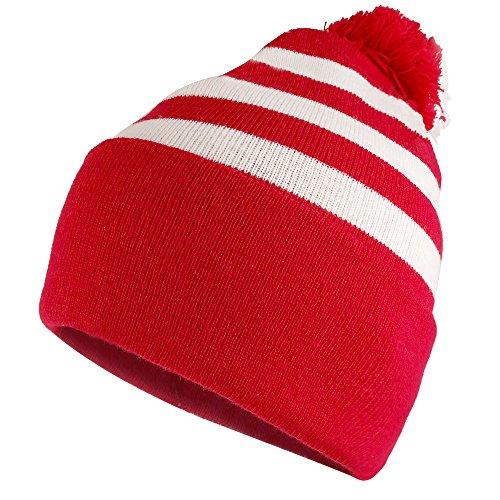 Armycrew Red White Striped Pom Pom Cuff Beanie Hat - Red White Stripe - 1 Pack